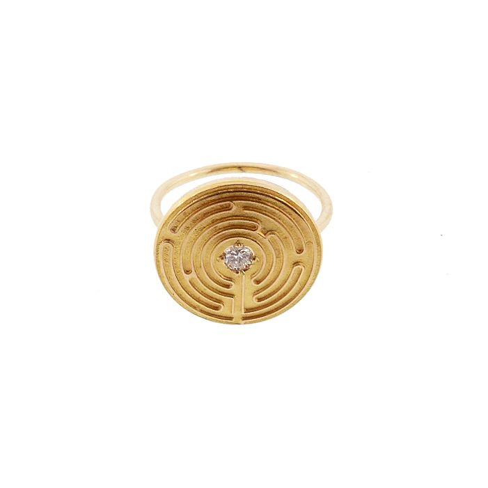 14K Gold & Diamond Maze Meditation Conversion Ring