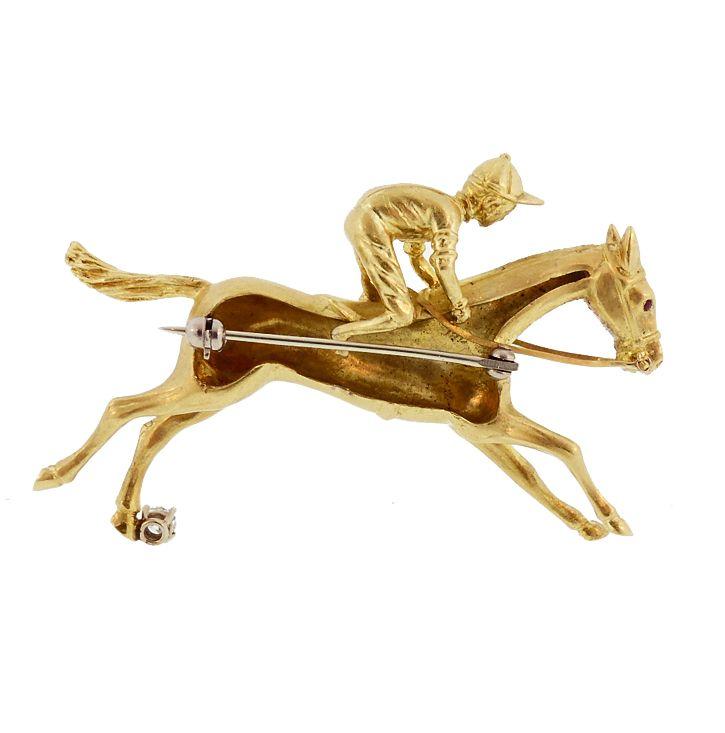 Pampillonia 18K Gold Diamond Horse & Jockey Brooch