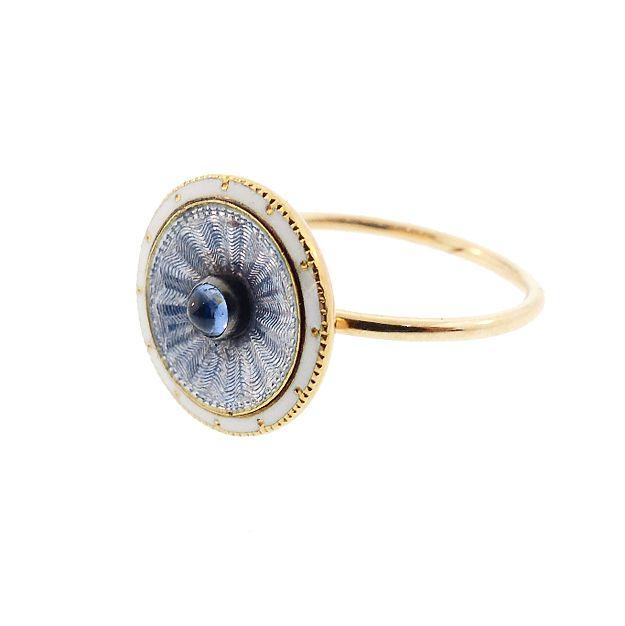French 18K Gold, Sapphire & Enamel Conversion Ring