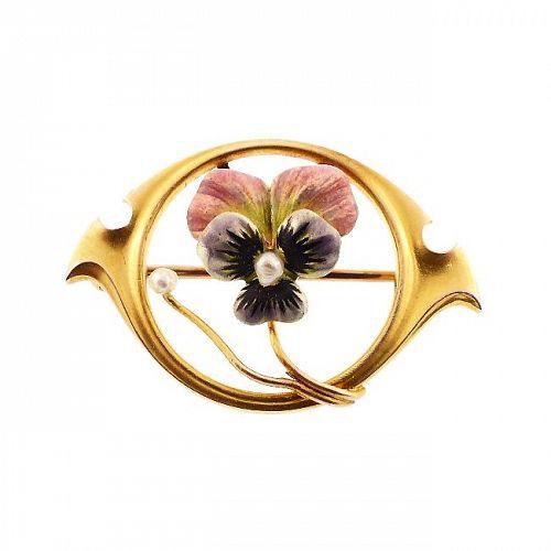 Art Nouveau Enameled Pansy & Pearl 10K Gold Pin