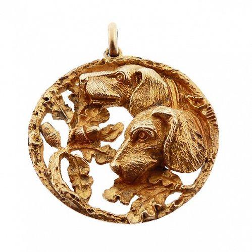 Art Nouveau Gilt Silver Hunting Dogs Pendant