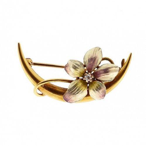 Art Nouveau 14K Gold, Enamel & Diamond Floral Honeymoon Pin