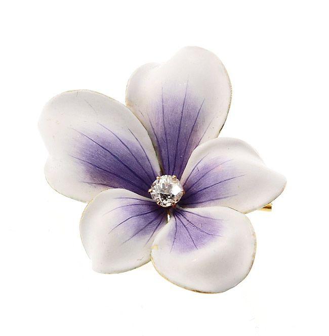 Art Nouveau Enameled 18K Gold Diamond Violet Flower Pendant / Pin