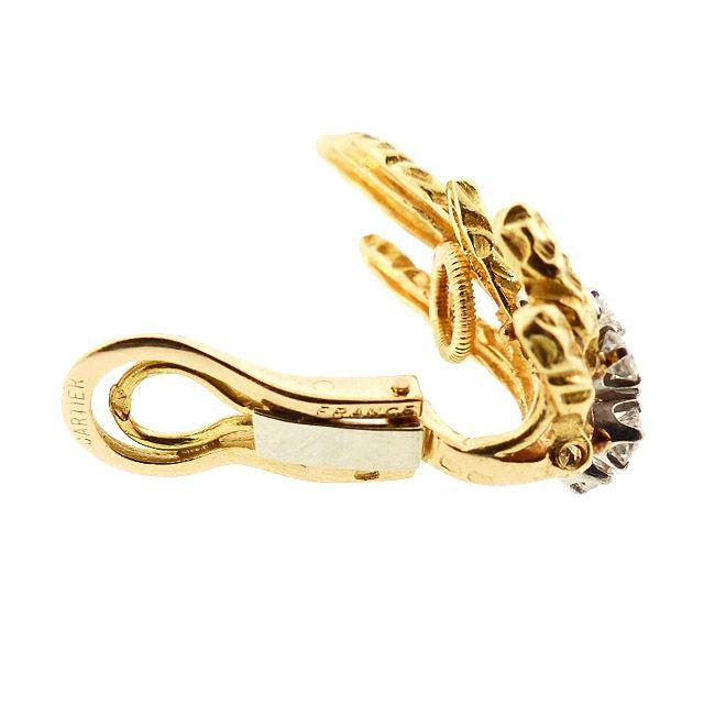 Cartier 18K Gold & Diamond Modernist 1960's Earrings