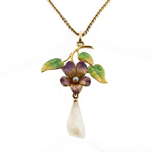 Art Nouveau Enameled Violet Pearl & 14K Gold Pendant Necklace