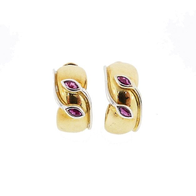 Faraone & Tiffany 18K Gold & Ruby Earrings