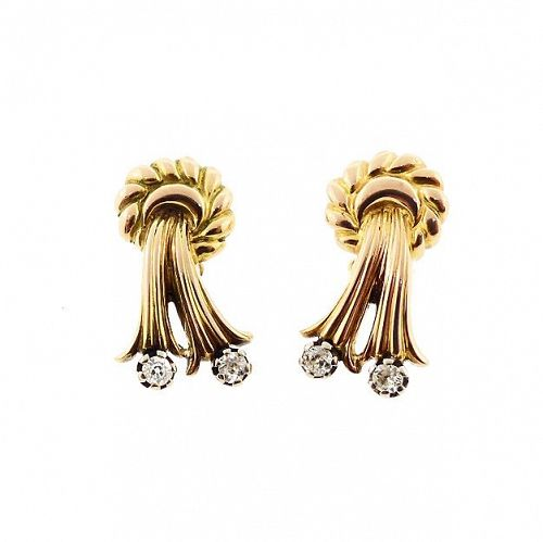 Retro 18K Gold & Diamond Bow Earrings