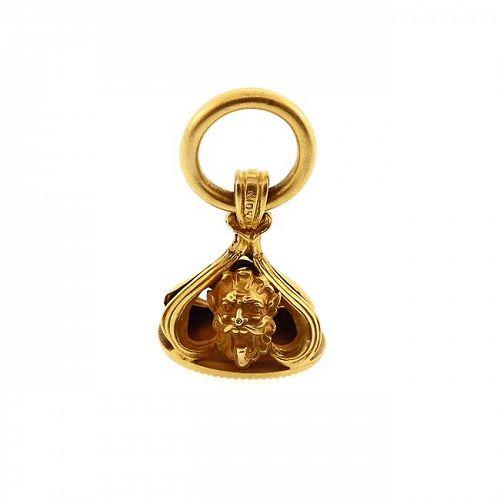 Art Nouveau 10K Gold Satyr Watch Fob Seal Pendant
