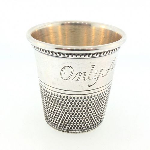 Thomae & Co. Sterling Silver Thimble Figural Novelty Jigger