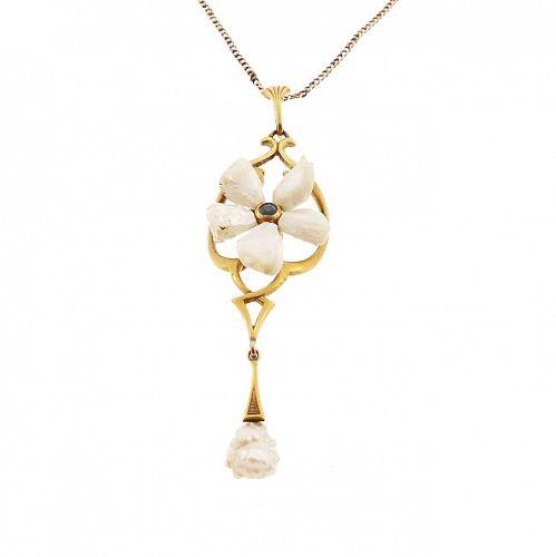Art Nouveau 14K Gold Freshwater Pearl Sapphire Flower Pendant Necklace