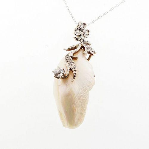 Art Nouveau Platinum Gold Freshwater Pearl & Diamond Pendant Necklace