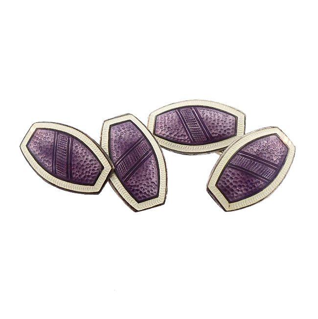 Edwardian Sterling Silver Purple Guilloche Enamel Cufflinks