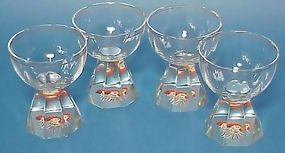 Art Deco Moser Enameled Cocktail Glasses