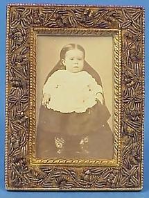 Victorian Bronze & Embroidered Velvet Frame