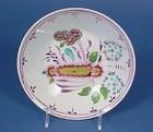 Polychrome & Pink Luster Porcelain Tea Saucer