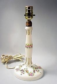 Bohemian Enameled Overlay Glass Boudoir Lamp