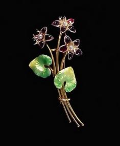 Krementz Edwardian Enameled 14K Gold Pearl Brooch