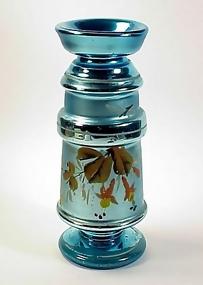 Victorian Peacock Blue Mercury Glass Vase