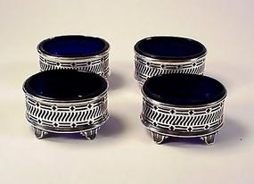 4 George V English Sterling Silver Cobalt Glass Salts