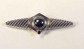 David Yurman Silver 14K Gold Hematite Pink Sapphire Pin