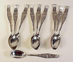 10 Tiffany & Co. Sterling Silver VINE Demitasse Spoons