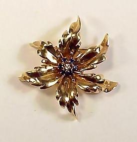 Tiffany Retro 14K Gold, Diamond & Sapphire Floral Pin