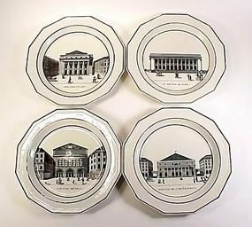 4 French Empire Paris Scene Choisy-le-Roi Plates