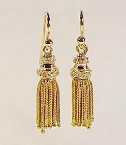 18K Yellow Rose Green Gold Victorian Tassel Earrings