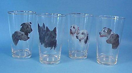 4 Enameled Bohemian Dog Glasses