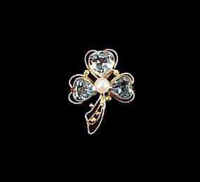Retro 14K Gold Aquamarine & Pearl Clover Pin