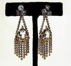 Art Nouveau 18K Gold & Aquamarine Tassel Earrings