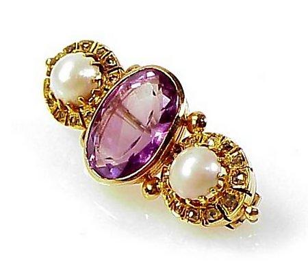 Victorian 14K Gold, Amethyst, Diamond & Pearl Brooch