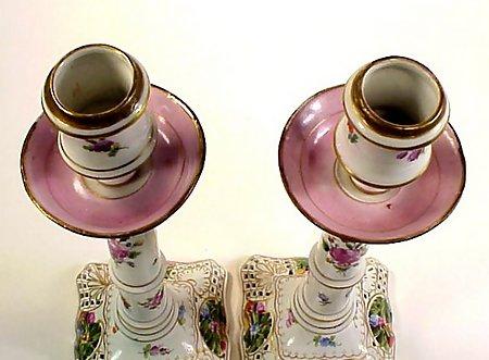 Pair Dresden Flowers Porcelain Candlesticks