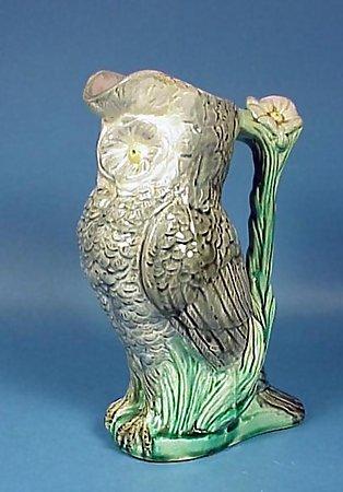 Morley Victorian Majolica Figural Owl Jug