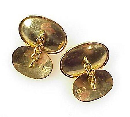 Art Deco 18K Yellow Gold & Blue Moonstone Cufflinks