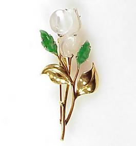 Retro 14K Gold Carved Jade & Rock Crystal Floral Brooch