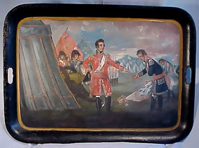 """Georgian Tole Tray �Surrender of Quebec"""""""