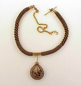 Victorian 14K Gold & Woven Hair Watch Fob Necklace