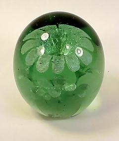 Nailsea-Stourbridge Green Bottle Flower Pot Paperweight