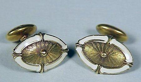 Edwardian 14K Gold & Enamel Cufflinks