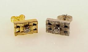 Diamond & 14K White & Yellow Gold Basketweave Earrings