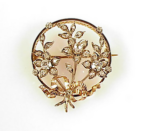 French Napoleon III 18K Gold Diamond Floral Circle Pin