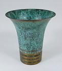 Carl Sorensen Art Deco Patinated Bronze Trumpet Vase