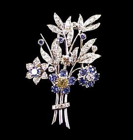 Platinum, Cognac & White Diamond Sapphire Floral Brooch