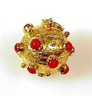 Venetian Etruscan 18K Gold & Red Coral Fob Charm