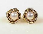 Mikimoto 18K Gold, Diamond & Mabe Pearl Earrings