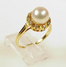 Signed Mikimoto 18K Gold, Cultured Pearl & Diamond Ring