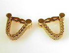 Olga Tritt French 18K Gold Mesh Stirrup Cufflinks
