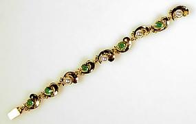 Edward Everett Oakes 14K Tourmaline Pearl Bracelet