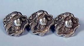 Art Nouveau Sterling Silver Maidens Bar Pin